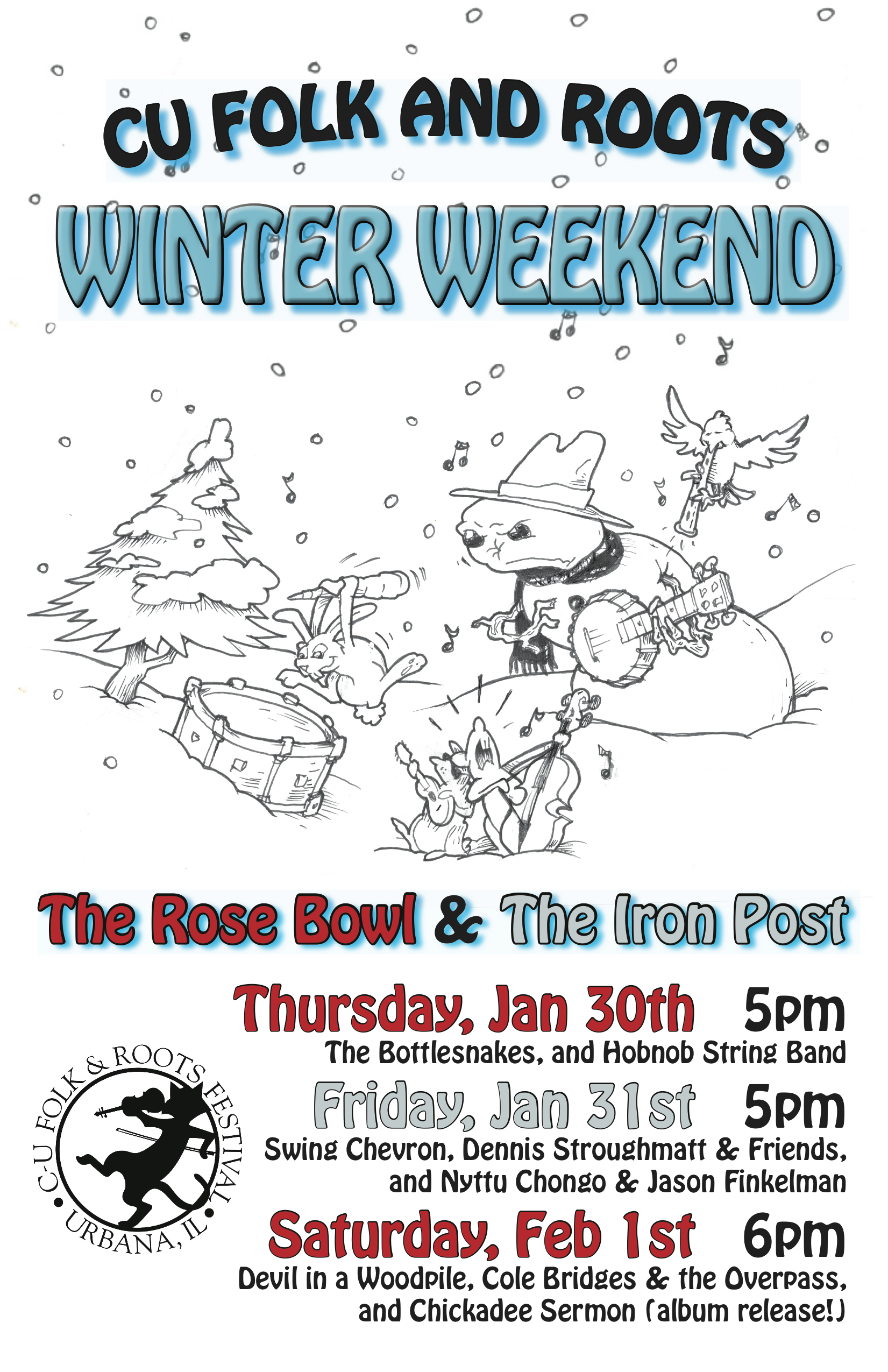 Folk & Roots Winter Weekend: The Bottlesnakes and Hobnob String Band @ Rose Bowl